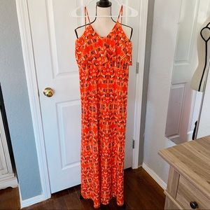 Buddy Love maxi dress size small orange black blue